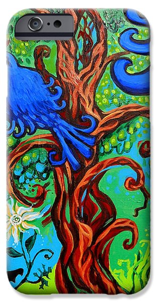 Tree Art Print iPhone Cases - Bluebird In Tree iPhone Case by Genevieve Esson