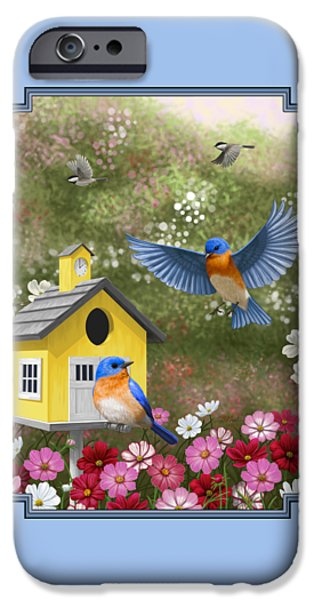 Chickadee iPhone Cases - Bluebirds and Yellow Birdhouse iPhone Case by Crista Forest