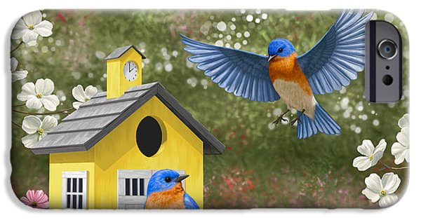 Flight Digital Art iPhone Cases - Bluebirds and Yellow Birdhouse iPhone Case by Crista Forest