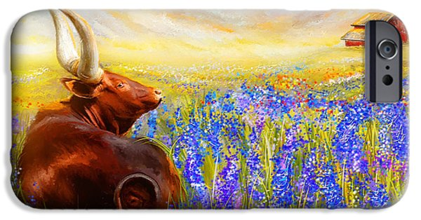 Texas Longhorn iPhone Cases - Bluebonnet Dream - Bluebonnet Paintings iPhone Case by Lourry Legarde