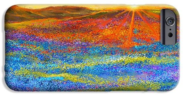 Texas Longhorn iPhone Cases - Bluebonnet Horizon - Bluebonnet Field Sunset iPhone Case by Lourry Legarde