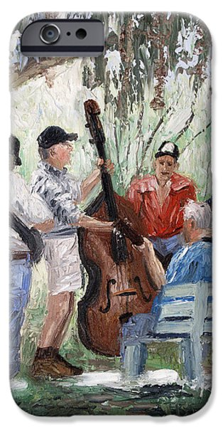 Park Benches iPhone Cases - Bluegrass In The Park iPhone Case by Anthony Falbo