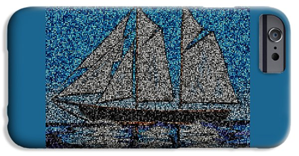 Tall Ship Mixed Media iPhone Cases - Bluenose II iPhone Case by Kathleen Sartoris