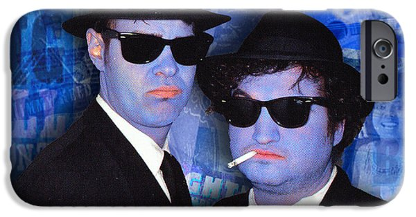 The Blue Face iPhone Cases - Blues Brothers Blue iPhone Case by Tony Rubino