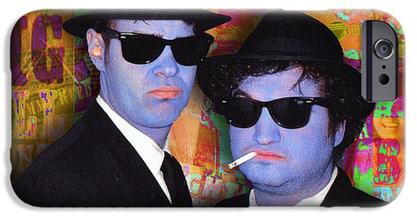 The Blue Face iPhone Cases - Blues Brothers Gold iPhone Case by Tony Rubino