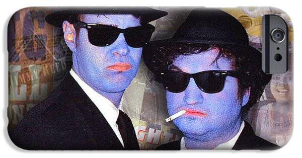 The Blue Face iPhone Cases - Blues Brothers Sepia iPhone Case by Tony Rubino