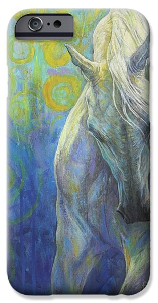 Horse Artist iPhone Cases - Blues Fighter iPhone Case by Silvana Gabudean