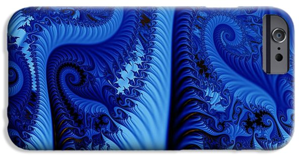 Abstracts iPhone Cases - Blues iPhone Case by Ron Bissett
