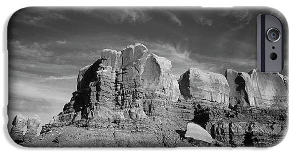Dave iPhone Cases - Bluff Utah Landscape BW iPhone Case by David Gordon