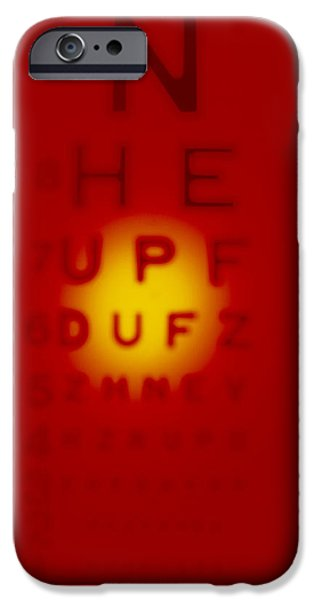 Diagnostics iPhone Cases - Blurred View Of A Snellen Eye Test Chart iPhone Case by Tek Image