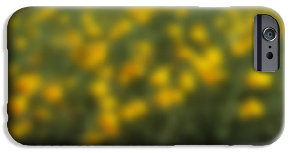 Nature Abstract iPhone Cases - Blurred yellow seasonal flower with dark background iPhone Case by Rudra Narayan  Mitra