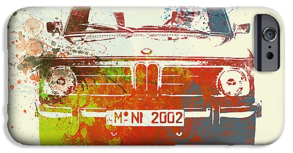 Old Car iPhone Cases - BMW 2002 Front Watercolor 2 iPhone Case by Naxart Studio