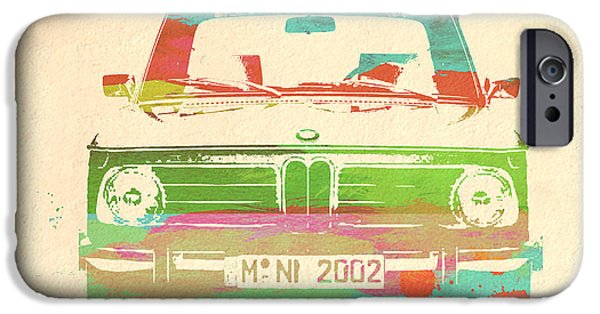 Vintage Car iPhone Cases - BMW 2002 Front Watercolor 3 iPhone Case by Naxart Studio