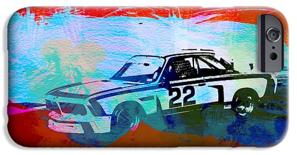 Classic Car Paintings iPhone Cases - BMW 3.0 CSL Racing iPhone Case by Naxart Studio