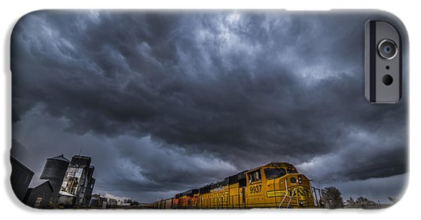 Train Town iPhone Cases - BNSF Storm iPhone Case by Darren  White