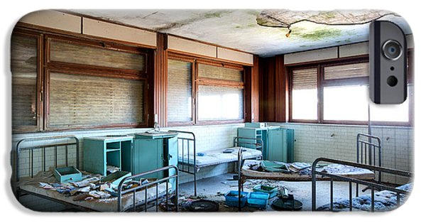 Sheets iPhone Cases - Boarding school nightmare - abandoned building iPhone Case by Dirk Ercken