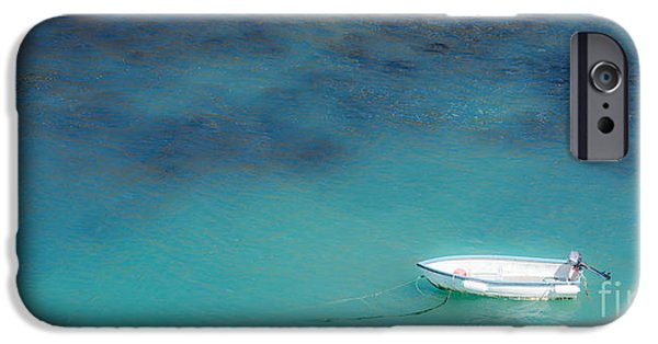 Skiff iPhone Cases - Boat At Port Isaac iPhone Case by Amanda And Christopher Elwell