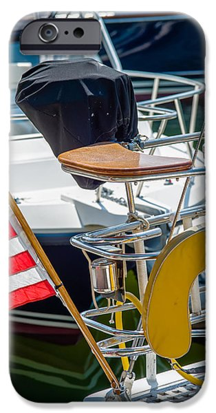 Pleasure iPhone Cases - Boat Captains Seat With American Flag iPhone Case by Alexandr Grichenko