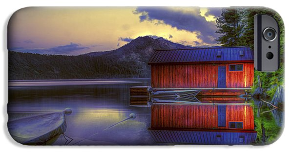 Boat iPhone Cases - Red Boat House iPhone Case by Maria Coulson