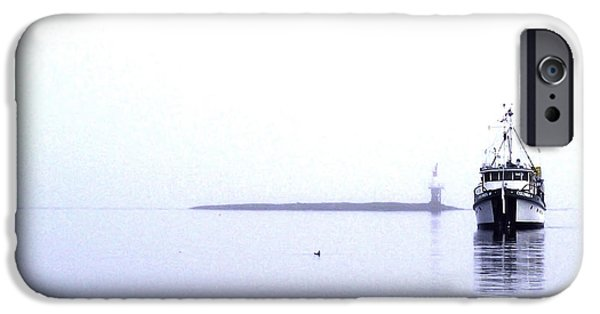 Port Hardy iPhone Cases - Boat in Fog 10 iPhone Case by Larry Kohlruss