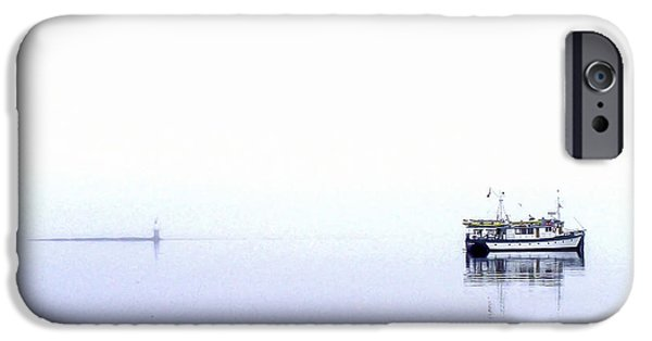 Port Hardy iPhone Cases - Boat in Fog 12 iPhone Case by Larry Kohlruss