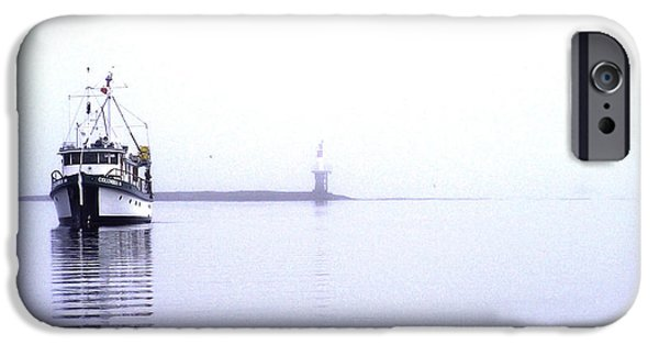 Port Hardy iPhone Cases - Boat in Fog 13 iPhone Case by Larry Kohlruss