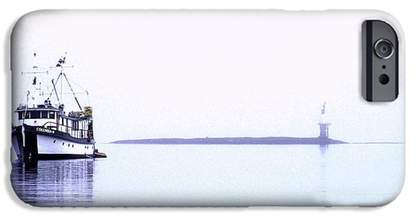Port Hardy iPhone Cases - Boat in Fog 14 iPhone Case by Larry Kohlruss