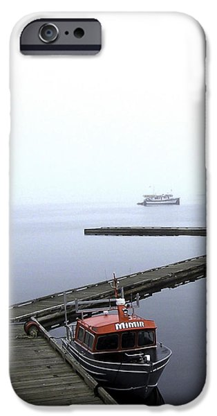 Port Hardy iPhone Cases - Boat in Fog 15 iPhone Case by Larry Kohlruss