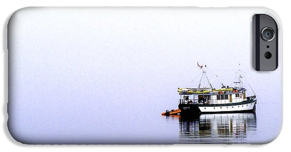Port Hardy iPhone Cases - Boat in Fog 2 iPhone Case by Larry Kohlruss