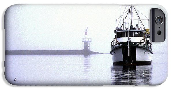 Port Hardy iPhone Cases - Boat in Fog 8 iPhone Case by Larry Kohlruss
