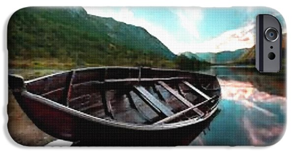 Abstract Digital Pastels iPhone Cases - Boat near the River Bank H b iPhone Case by Gert J Rheeders