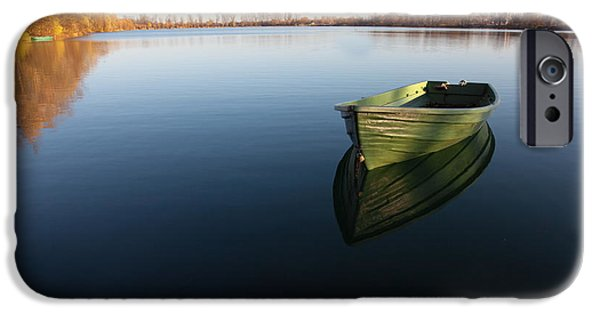 Morning iPhone Cases - Boat on Lake iPhone Case by Nailia Schwarz