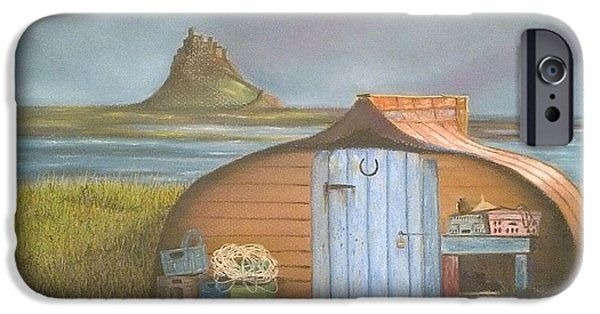 Shed Pastels iPhone Cases - Boat shed at Lindisfarne iPhone Case by Fiona Rowley