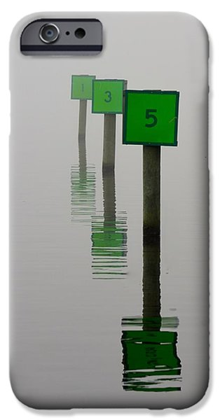 Marine iPhone Cases - Boat Slips in the Fog iPhone Case by Richard Bryce and Family