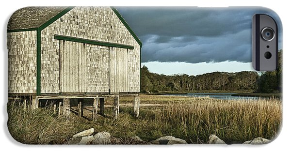 Salt Marsh. New England iPhone Cases - Boathouse iPhone Case by John Greim