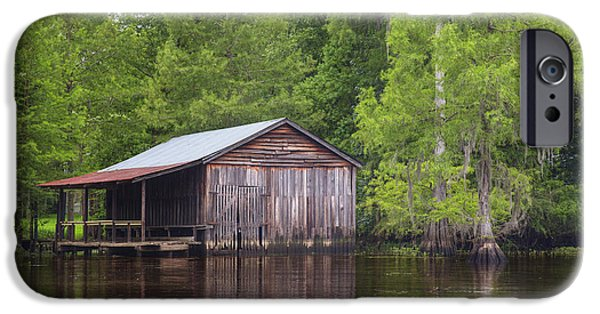 Caddo Lake iPhone Cases - Boathouse on Caddo Lake 1 iPhone Case by Rob Greebon
