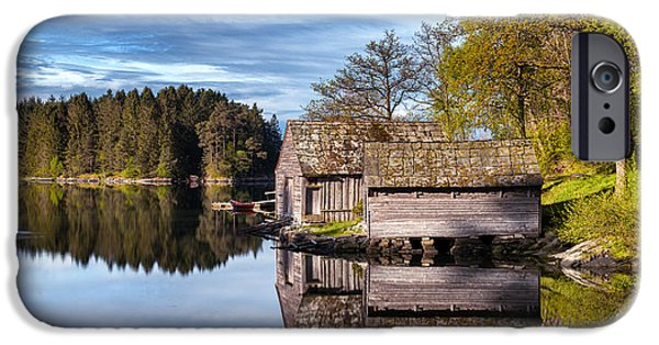 Norway iPhone Cases - Boathouse Reflections iPhone Case by Eirik Sorstrommen