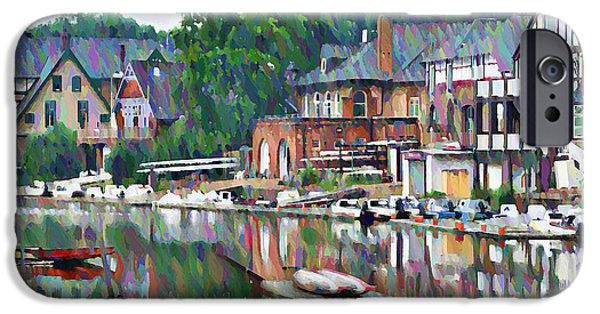 Romantic Digital iPhone Cases - Boathouse Row in Philadelphia iPhone Case by Bill Cannon