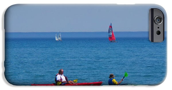 Sailboats iPhone Cases - Boating In Evanston iPhone Case by Louis Perlia