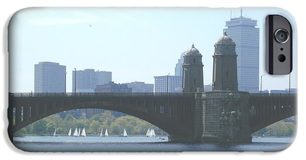City. Boston iPhone Cases - Boating on the Charles iPhone Case by Laura Lee Zanghetti