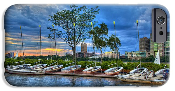 Charles River iPhone Cases - Boating on the Charles River - Boston iPhone Case by Joann Vitali
