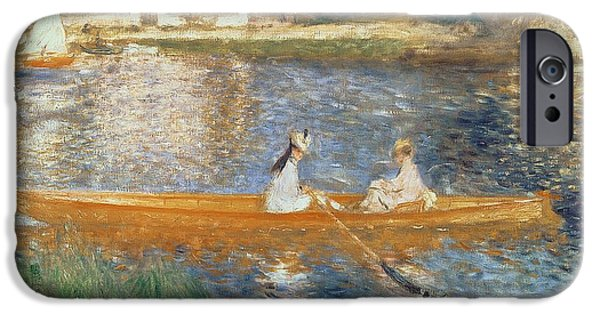 Boat Paintings iPhone Cases - Boating on the Seine iPhone Case by Pierre Auguste Renoir