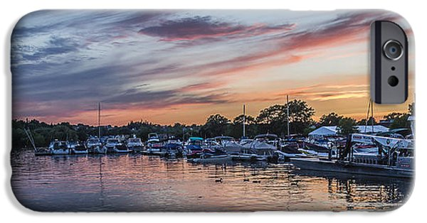 Boat iPhone Cases - Boats at Sunset iPhone Case by Joann Long