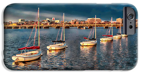 Boston Ma iPhone Cases - Boats in a Row iPhone Case by Larry  Richardson