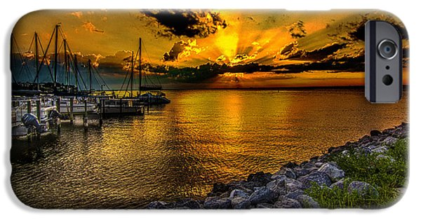 Boat Tapestries - Textiles iPhone Cases - Boats in Bay iPhone Case by James Hennis