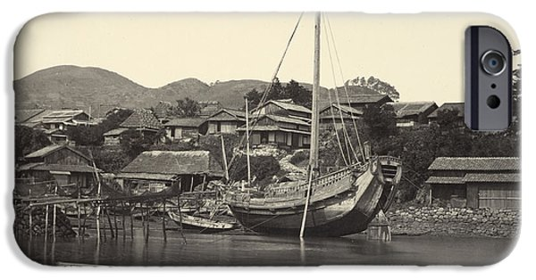 Boats In Water Paintings iPhone Cases - Boats in River in Nagaski iPhone Case by Felice Beato