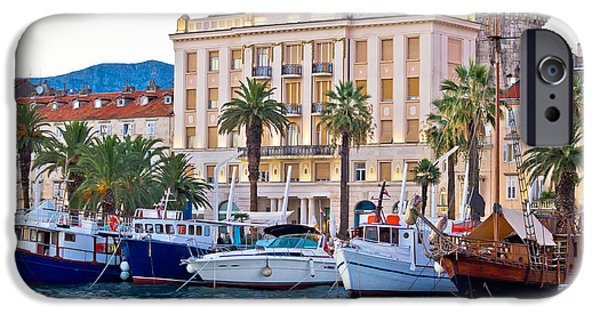 Cathedral Rock iPhone Cases - Boats in Split waterfront view iPhone Case by Dalibor Brlek