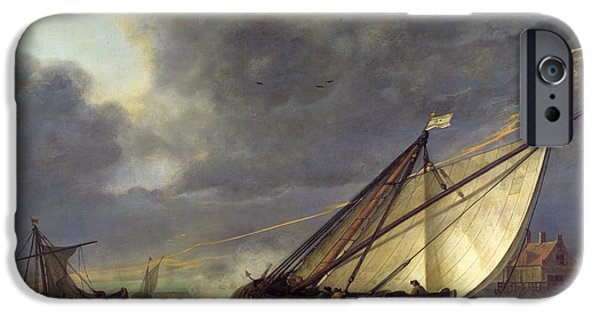 Boats In Water iPhone Cases - Boats in the Estuary of Holland Diep in a Storm iPhone Case by Aelbert Cuyp