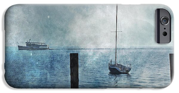 Boat iPhone Cases - Boats In The Fog iPhone Case by Joana Kruse