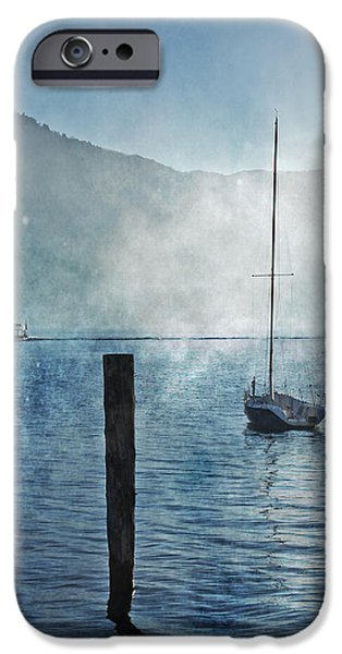 boats in the fog iPhone Case by Joana Kruse